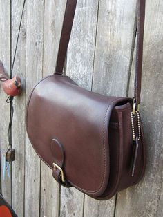 0c6bb2363385 Vintage Coach Bag • Coach Saddle Bag in Mahogany Leather • Coach Crossbody  Bag Satchel •