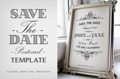 Save The Date Postcard Template V.1 by Zeppelin Graphics on @creativemarket