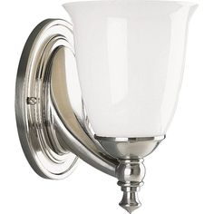 View the Progress Lighting P3027 Victorian Single-Light Reversible Bathroom Sconce with Opal Glass Shade, Matches Delta Faucet Finishes at LightingDirect.com.
