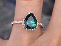 Emerald wedding ring pear cut emerald engagement ring rose gold handmade diamond halo ring may birthstone bridal promise ring for her Emerald Wedding Rings, Rose Gold Engagement Ring, Engagement Ring Settings, Wedding Ring Images, Alternative Wedding Rings, Promise Rings For Her, Diamond Cluster Ring, Unique Rings, White Gold Diamonds