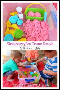 Strawberry Ice Cream Dough Sensory Bin