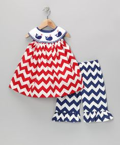 Take a look at this Red Smocked Chevron Top & Blue Pants - Infant & Toddler by Silly Stitches on #zulily today!