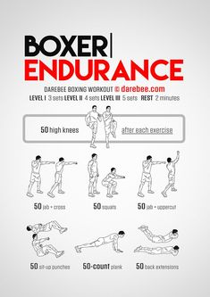 Boxer Endurance workout part of Darebee themed boxing training week. Boxing Training Workout, Boxer Workout, Speed Workout, Mma Workout, Endurance Workout, Kickboxing Workout, Boxing Workout With Bag, Endurance Training, Punching Bag Workout