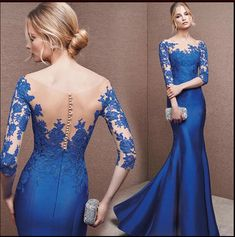 Royal Blue Prom Dresses,Mermaid Prom Dresses,Evening Dresses,Half Sleeves Prom Dresses,Long Prom Dresses,Elegant Prom Dresses,294