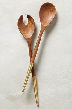 Brass tipped wood serving set