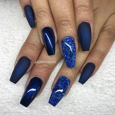 Midnight Blue coffin nails