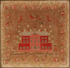 <b>Two English Needlework Samplers</b> <br /> <i>Mid to Late 18th Century</i> <br /> The first, an alphabet sampler with verse titled Education by Margaret Hilditch, dated 1797; the second depicting a house by Elizabeth Walsh, dated 1731. Each worked in polychrome threads on a cream ground. <i>Each with toning to ground</i>. Each framed.* <br /> <i>Sight size of largest: 16 x 17 in (40.6 x 43.2 cm)</i>Property of a Prominent Washington, DC Family <br />  <br />