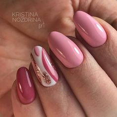 Nail art Christmas - the festive spirit on the nails. Over 70 creative ideas and tutorials - My Nails Pink Gel Nails, Hot Nails, Fancy Nails, Nail Manicure, Hair And Nails, Glitter Manicure, Manicure Ideas, Swag Nails, Round Nails