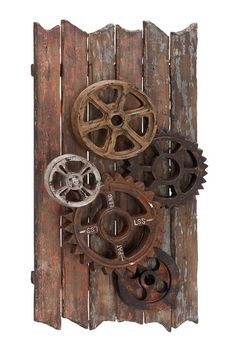 Perfect EC World Imports Urban Handcrafted Movie Reels And Gears Wood Art Wall Decor