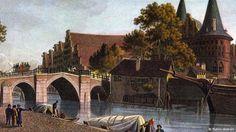 История Голштинских ворот или Хольстентор.  Любек,  Германия. Старинная  гравюра.  alkopona