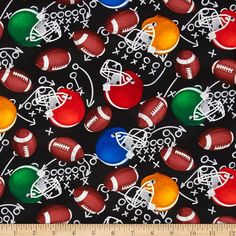 Timeless Treasures Football Motifs Black from @fabricdotcom  Designed for Timeless Treasures, this cotton print fabric is perfect for quilting, apparel and home decor accents. Colors include black, shades of brown, red, blue, green, orange, yellow, grey and white.