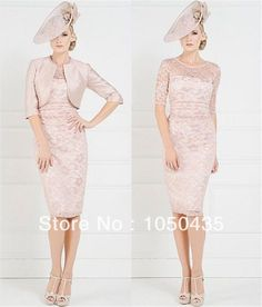 2014 Sheath Pink Knee Length 2014 Mother Of The Bride Lace Dress With Free Jacket Groom Mother Dresses Wedding Gust Dresses