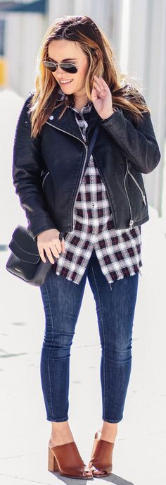 Black Leather Jacket / Black & White Checked Shirt / Skinny Jeans / Brown Leather Pumps