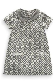 Купить Серое платье с круглым отложным воротником (3 мес.-6 лет) - Покупайте прямо сейчас на сайте Next: Россия
