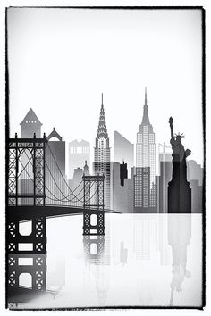 Quadro Clip Frame inch Borderless Frame- Quadro Clip Frame inch Borderless Frame New York graphic work, NY black and white, New York poster Frame is not… - Voyage Usa, Voyage New York, New York Drawing, New York Illustration, Skyline Painting, Airplane Decor, New York Poster, Iphone Background Images, New York City Travel