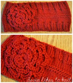 Simple knitted headband using knit and purl stitches.