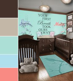 twins nursery and bird theme nursery dreams nursery # beige, chocolate, aqua, coral and light blue nursery Bird Theme Nursery, Nursery Themes, Nursery Decor, Nursery Ideas, Light Blue Nursery, Nursery Neutral, Neutral Nurseries, Twin Nurseries, Nursery Twins