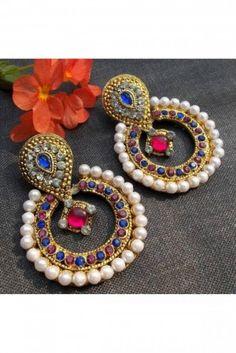 Multicolour stone pearl polki earring