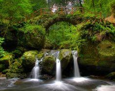 bridges streams waterfalls