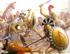 The fall of the Persian invaders at Plataea. This image depicts the famous Battle of 300, where 300 Spartan soldiers chose to stay and fight to allow the other Greek warriors to escape from the inavding Persians.
