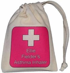 Personalised - Pink Cross Asthma Inhaler bag - TINY cotton drawstring bag -EMPTY