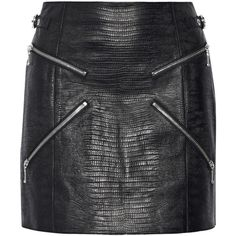 Alexander Wang Zip-embellished lizard-effect leather mini skirt (£910) ❤ liked on Polyvore featuring skirts, mini skirts, saia, black, high waisted skirts, embellished mini skirt, high-waist skirt, high-waisted skirts and leather miniskirt