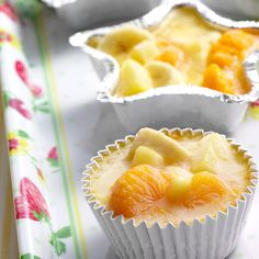 Frozen Citrus Fruit Cups Recipe -Add some sparkle to your next get-together or church supper with these sunny citrus treats. The refreshing cups burst with color and flavor, plus they look so cute served in shiny foil containers. —Sue Ross, Casa Grande, Arizona