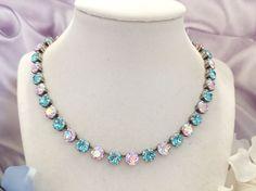 VIOLET DREAMS, swarovski crystal necklace, violet, turquoise, choker, designer inspired, 8mm, dksjewelrydesigns