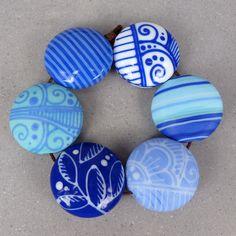 Love the color usage. Blue Pattern Mix - Bead set. $220.00, via Etsy.