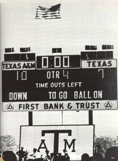 1967 Final Scoreboard from Texas A & M Aggies win over the Texas Longhorns, 10-7, at Kyle Field in College Station, 11/23/67.