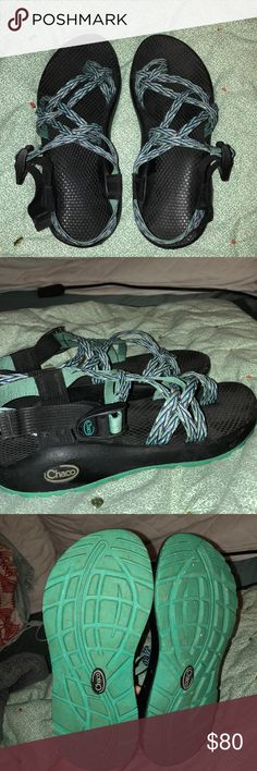 Chaco Sandals No flaws at all!! Just a little dusty! Only worn about 10 times to camps and things. Think I need the single strap or a size 8!! Chaco Shoes Sandals