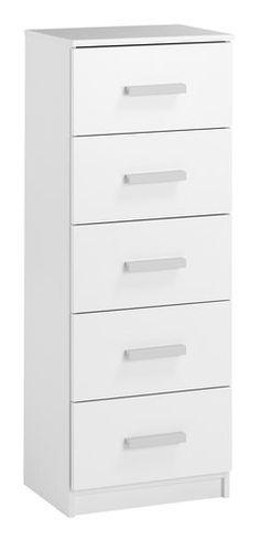 Comodă cu 5 sertare KABDRUP îngustă albă | JYSK