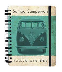 Campervan Gift - VW Vintage Green Samba Campervan Notebook, (http://www.campervangift.co.uk/vw-vintage-green-samba-campervan-notebook/)