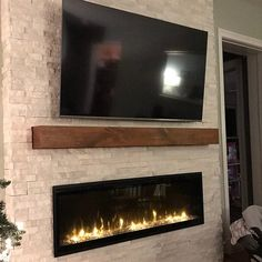 Most recent No Cost wrap around Fireplace Mantels Popular Fireplace Mantel // Modern Rustic Mantel // Rustic Wood Mantel Fireplace Feature Wall, Wall Mounted Fireplace, Tv Above Fireplace, Basement Fireplace, Linear Fireplace, Brick Fireplace Makeover, Home Fireplace, Fireplace Remodel, Living Room With Fireplace