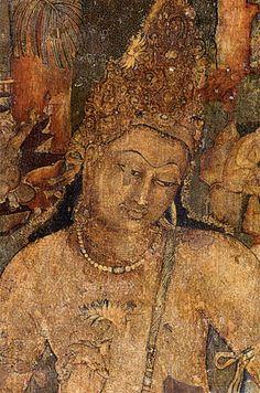 Fresco from Ajanta Caves, India; Bodhisattva Padmapani, From Cave # From: Art Street International: History of Art Ajanta Ellora, Ajanta Caves, History Of India, Art History, Ancient Art, Ancient History, Fresco, Lotus Sutra, Spiritism