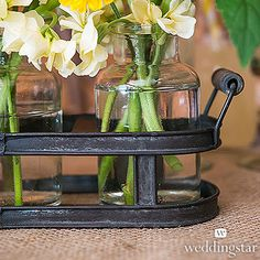 Small Glass Bottle Set in Aged Metal Holder: For the drink shelves around the room--fill with cut flowers (need to check that they fit on the drink holders)