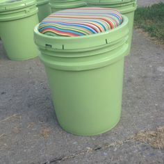 Bucket seats made for a scout troop. These were all painted with coordinating fabric cushions.