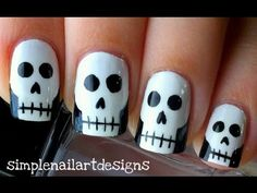 Halloween Skull Nail Art Tutorial - YouTube