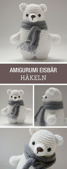 DIY-Anleitung: süßen Amigurumi Bären mit Schal selbst häkeln, Winterdeko für Dein Zuhause / DIY tutorial: crocheting cute amigurumi ice bear, winter home decor via DaWanda.com