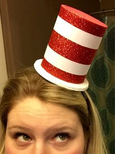 The school that I work at is having a Dr. Since I am working a station with another teacher and already h. Dr Seuss Diy Costumes, Baby Halloween Costumes, Crazy Hat Day, Crazy Hats, Dr Suess Hats, Cat In The Hat Party, Cute Halloween Makeup, Book Character Costumes, Kids Costumes Boys