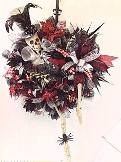 Halloween Wreath, Deluxe Halloween Wreath, Skeleton Wreath, Orange, Ghost, All Hallows Eve, Halloween Decor