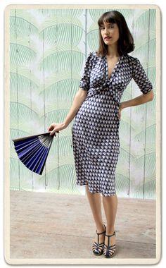Sable dress in French navy fan print crepe | Nancy Mac