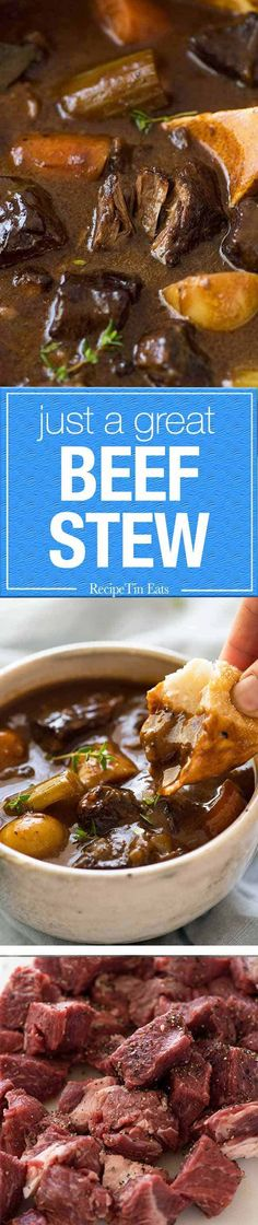YES-YES-YES - Just Great, - Beef Stew - Thick, rich gravy with fall apart beef, tender carrots and potatoes. Meat Recipes, Slow Cooker Recipes, Cooking Recipes, Lamb Recipes, Crockpot Meals, Jambalaya, Classic Beef Stew, Recipetin Eats, Recipe Tin