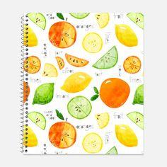 Summer Citrus Notebook, Waterproof Cover, Journal, Lemons, Limes, Oranges, Cute Notebook, School Supplies, College Ruled
