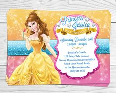 Princess belle birthday party invitations beuty and the beast party princess belle beauty the beast princess by maxinereneedesigns filmwisefo Images