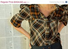 LABOR DAY weekend SALE western blouse --Black and Rust lightweight summer dress shirt. snaps and plaid.. $94.05, via Etsy.