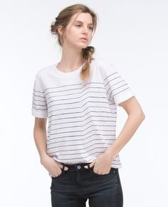 Cotton Sku# Item Details This tee's laid-back slouchy fit and modified striped print lend a unique touch to the everyday essential. People Png, The Sonic, Ag Jeans, T Shirts For Women, Clothes For Women, Silk Crepe, Striped Tee, Blue Stripes, Chambray