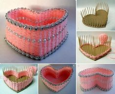 DIY Pretty Yarn Woven Heart Shaped Basket | GoodHomeDIY.com Follow Us on Facebook --> https://www.facebook.com/pages/Good-Home-DIY/438658622943462?ref=hl