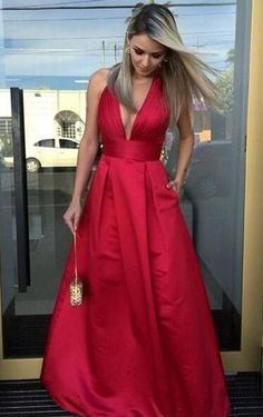 A-line Sexy Prom Dress,Simple Prom Dress,Red Satin Prom