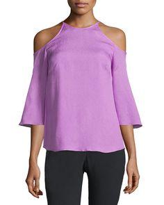 HALSTON HERITAGE Cold-Shoulder Silk Blouse. #halstonheritage #cloth #